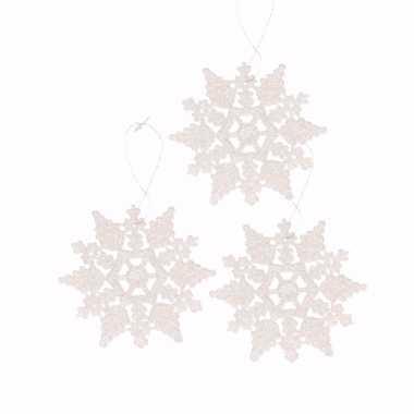3x kerstboom decoratie witte glitter kerst sneeuwvlok 10 cm type 2