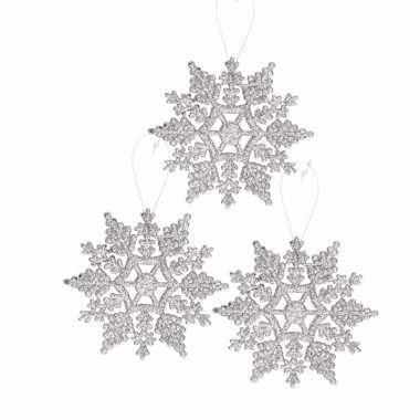 3x kerstboom decoratie zilveren glitter kerst sneeuwvlok 10 cm type 2