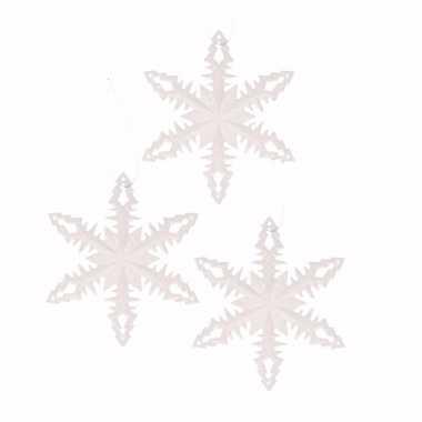3x kersthanger kerst sneeuwvlok / ijsbloem wit type 2