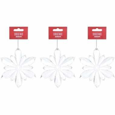 3x kersthangers figuurtje kerst sneeuwvlokken transparant 11 cm