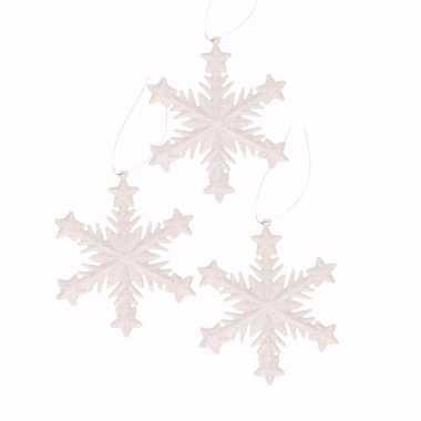 3x kersthangers kerst sneeuwvlok wit glitter type 1