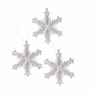 3x kersthangers kerst sneeuwvlok zilver glitter type 1