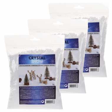 3x kristal kerst sneeuwvlokken zak van 1 liter