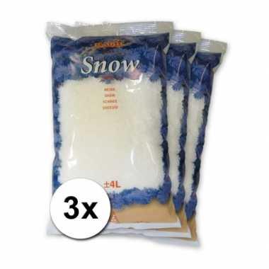 3x Kunstkerst sneeuw 4 liter
