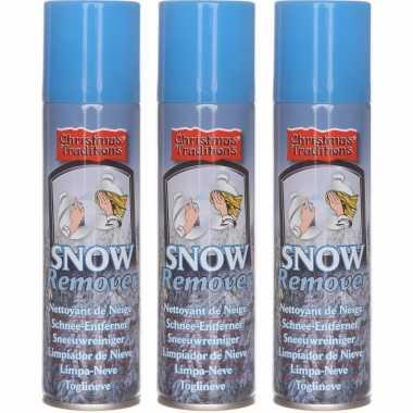 3x kunstkerst sneeuw/nepkerst sneeuw verwijderaar/reinigingsspray bussen 125 ml
