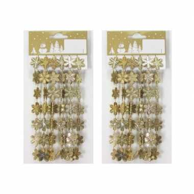 3x stuks gouden kerst sneeuwvlokken guirlandes/slinger 180 cm kerstversiering