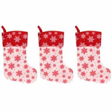 3x wit/rode kerstsokken met kerst sneeuwvlokken print 40 cm