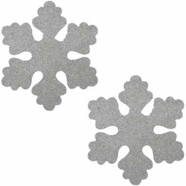 3x zilveren decoratie kerst sneeuwvlok van foam 40 cm