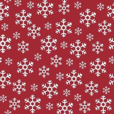 40x kerst servetten rood/witte kerst sneeuwvlokken 33 x 33 cm
