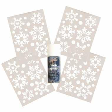 4x kerst raamsjablonen kerst sneeuwvlokken plaatje met kerst sneeuwsp
