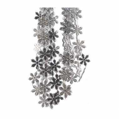 4x kerst sneeuwvlok slingers zilver 270 cm