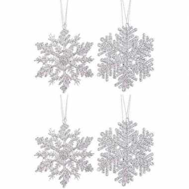 4x kersthangers figuurtjes zilveren kerst sneeuwvlok/ster 12cm glitte