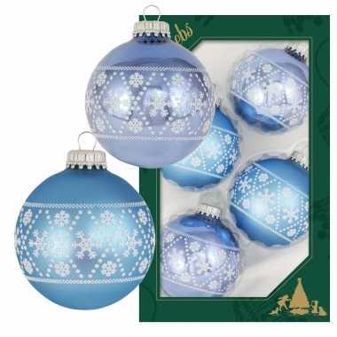 4x luxe blauwe glazen kerstballen met witte kerst sneeuwvlokken 7 cm