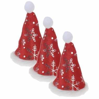 4x stuks mini kerstmutsjes met kerst sneeuwvlokken op clip