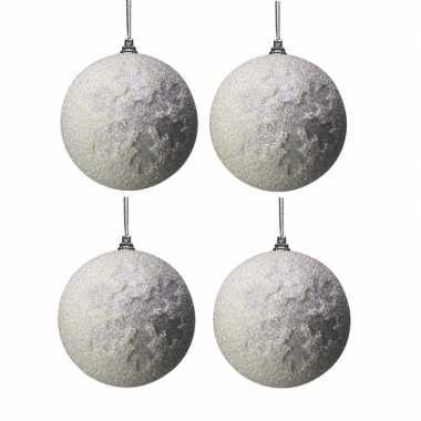4x witte kunststof kerstballen met kerst sneeuwvlokken 10 cm