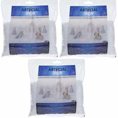 4x zakjes kunstkerst sneeuw / strooikerst sneeuw 250 gram