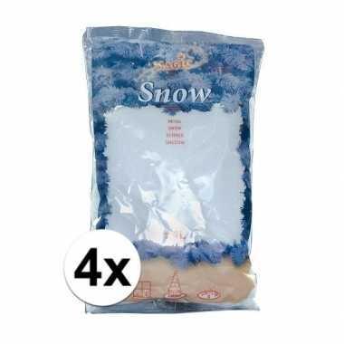 4x zakken kunstkerst sneeuw van 4 liter per stuk