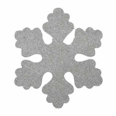 4x zilveren decoratie kerst sneeuwvlokken van foam 25 cm