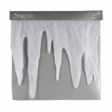 5x ijspegel randen deco kerst sneeuw wit van 200 cm