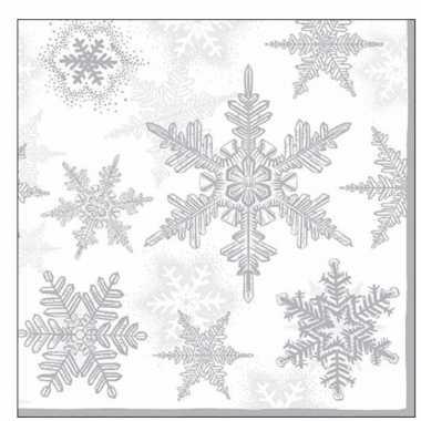 60x servetten winter kerst sneeuwvlokken thema wit/zilver 33 x 33 cm