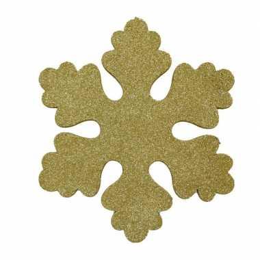 6x gouden decoratie kerst sneeuwvlokken van foam 25 cm