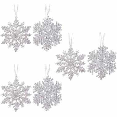 6x kersthangers figuurtjes zilveren kerst sneeuwvlok/ster 12cm glitte