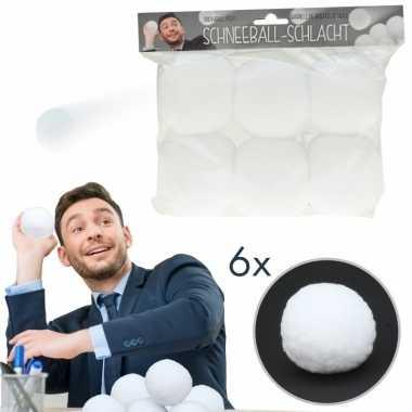 6x kunstkerst sneeuw kerst sneeuwballen 7,5 cm