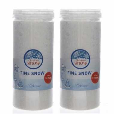 6x stuks fijne kunstkerst sneeuw in pot 50 gram