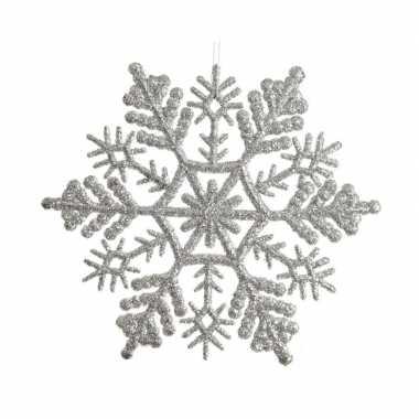 8x kerst sneeuwvlokken hangend in het zilver 10 cm