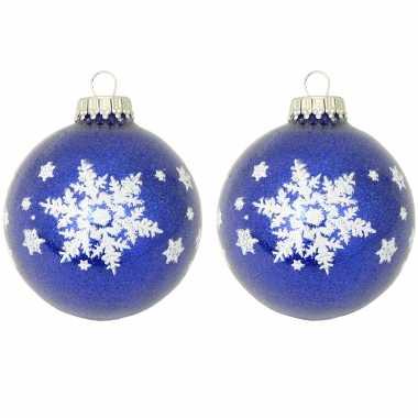 8x luxe blauwe glazen kerstballen glitter met witte kerst sneeuwvlok 7 cm