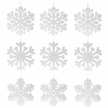 8x stuks kerst sneeuwvlok hangdecoratie wit 49 cm