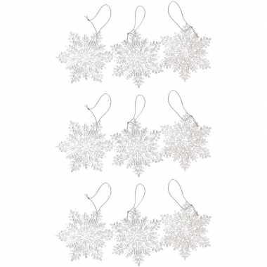9x kersthangers figuurtjes transparante kerst sneeuwvlok/ster 10 cm g