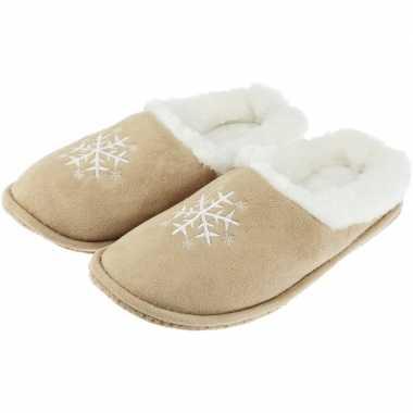 Beige instap sloffen/pantoffels kerst sneeuwvlok voor dames