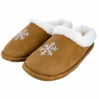 Cognac bruine kerst sneeuwvlok pantoffels/sloffen voor dames