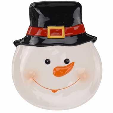 Decoratiebord kerst sneeuwpop 24 cm