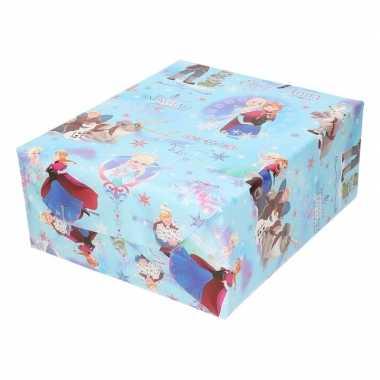 Disney inpakpapier frozen blauw kerst sneeuwvlokken 200 x 70 cm op ro