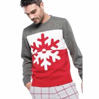 Foute gebreide kersttrui grijs/rood met kerst sneeuwvlok voor heren