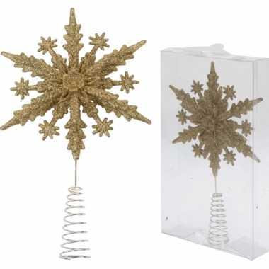 Gouden kerstboom piek kerst sneeuwvlok