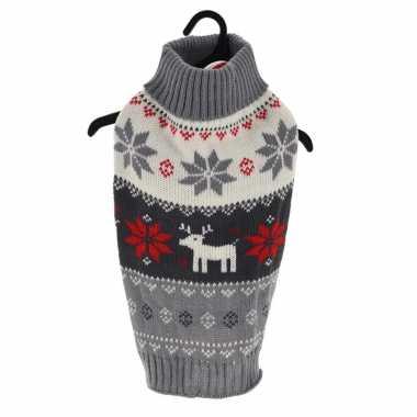 Grijze gebreide foute kersttrui met kerst sneeuwvlokken en rendieren voor huisdieren