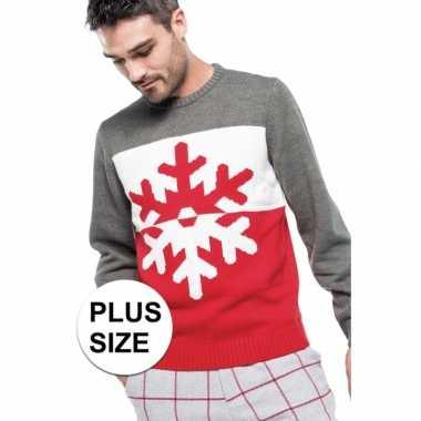 Grote maten foute kersttrui grijs/rood met kerst sneeuwvlok voor here