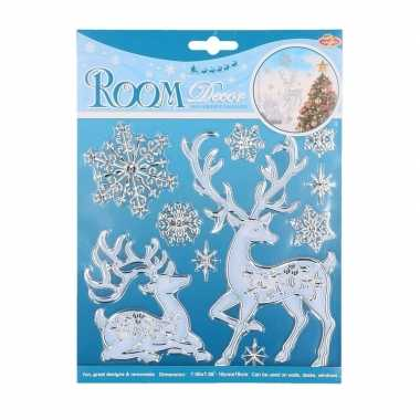 Hert met kerst sneeuwvlokken raam stickers