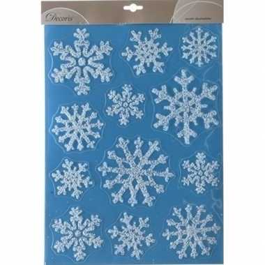 Kerst decoratie raamstickers glitter kerst sneeuwvlokken 30 x 40 cm