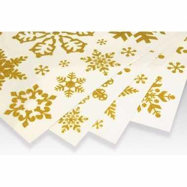 Kerst decoratie raamstickers gouden kerst sneeuwvlokken