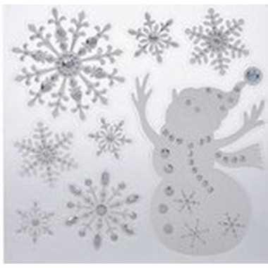 Kerst decoratie raamstickers kerst sneeuwpop/kerst sneeuwvlok 31 x 39