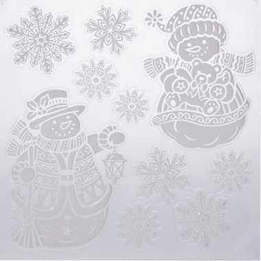 Kerst decoratie raamstickers kerst sneeuwpoppen/kerst sneeuwvlok 31 x