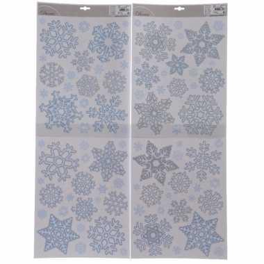 Kerst decoratie raamstickers kerst sneeuwvlokken 30 x 42 cm