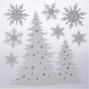 Kerst decoratie raamstickers kerstbomen/kerst sneeuwvlokken 31 x 39 c