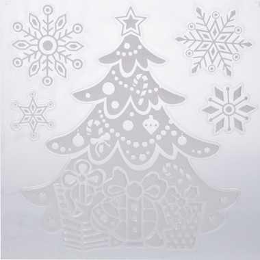 Kerst decoratie raamstickers kerstboom/kerst sneeuwvlok 31 x 39 cm
