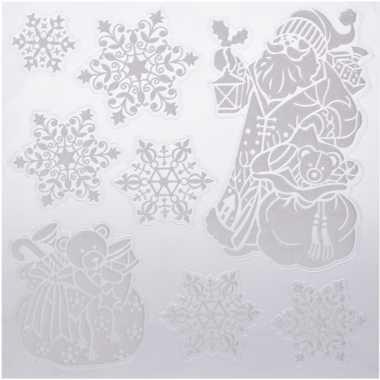 Kerst decoratie raamstickers kerstman/kado/kerst sneeuwvlok 31 x 39 c