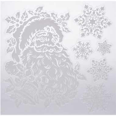 Kerst decoratie raamstickers kerstman/kerst sneeuwvlok 31 x 39 cm